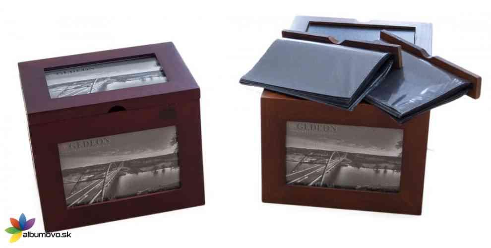 Darčekový drevený box s fotoalbumami  - obrázok