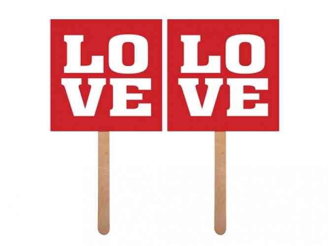 """Kartičky na fotenie """"LOVE"""" (2 ks) - obrázok"""