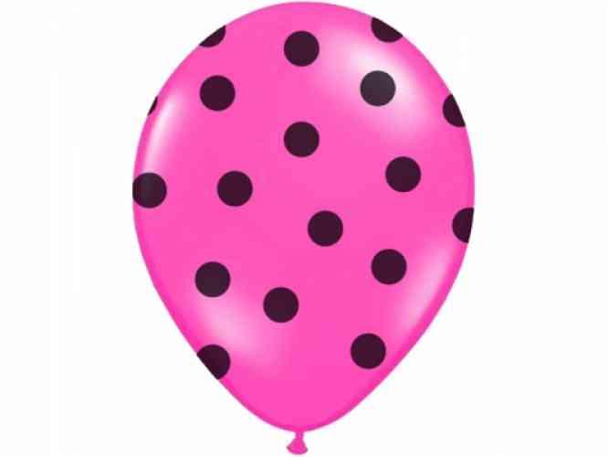 Balóny POLKA DOTS - Fuchsia (6 ks) - obrázok